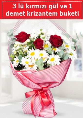 3 adet kırmızı gül ve krizantem buketi  Rize 14 şubat sevgililer günü çiçek