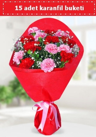 15 adet karanfilden hazırlanmış buket  Rize çiçek satışı