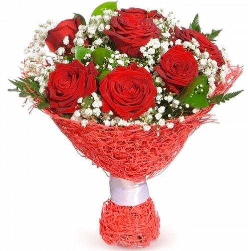 7 adet kırmızı gül buketi  Rize İnternetten çiçek siparişi