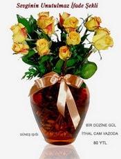 Rize çiçek yolla , çiçek gönder , çiçekçi   mika yada Cam vazoda 12 adet sari gül